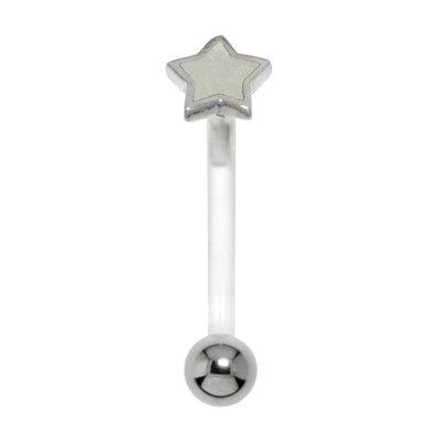 Bauchpiercing Silber 925 Chirurgenstahl 316L Bioplast Email Stern