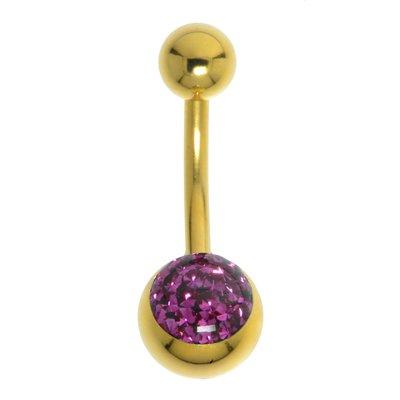 Bauchpiercing Chirurgenstahl 316L Swarovski Kristall Epoxiharz PVD Beschichtung (goldfarbig)