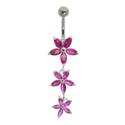 Piercing nombril Acier chirurgical 316L Argent 925 Cristal Fleur