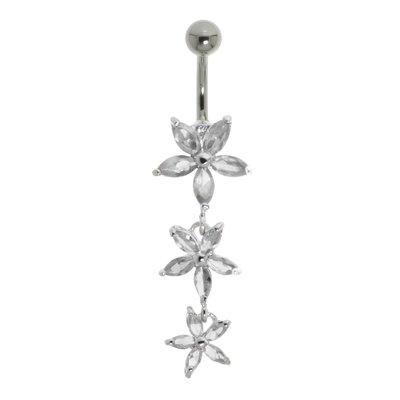 Bauchpiercing Chirurgenstahl 316L Silber 925 Kristall Blume