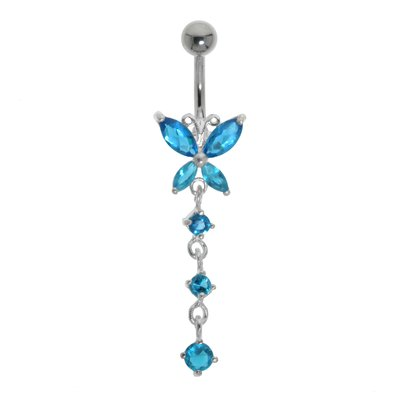 Bauchpiercing Chirurgenstahl 316L Silber 925 Kristall Schmetterling Sommervogel