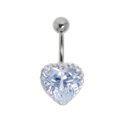 Bauchpiercing Chirurgenstahl 316L Silber 925 Kristall Herz Liebe
