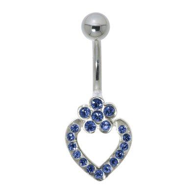 Bauchpiercing Chirurgenstahl 316L Silber 925 Kristall Herz Liebe Blume