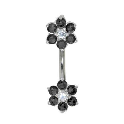 Bauchpiercing Chirurgenstahl 316L Silber 925 Zirkonia Blume