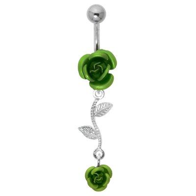 Bauchpiercing Chirurgenstahl 316L Silber 925 Rose Blume Blatt Pflanzenmuster Florales_Muster