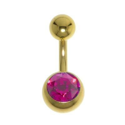 Piercing ventre Metallo chirurgico 316L Rivestimento PVD (colore oro) Cristallo Swarovski
