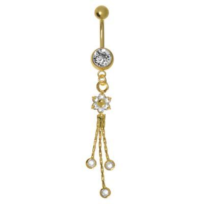 Bauchpiercing Chirurgenstahl 316L Kristall PVD Beschichtung (goldfarbig) Blume