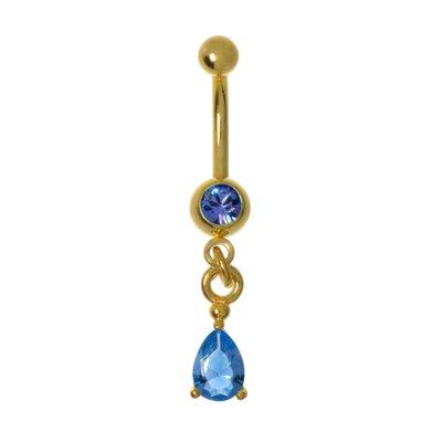 Bauchpiercing Chirurgenstahl 316L Swarovski Kristall PVD Beschichtung (goldfarbig) Tropfen Tropfenform Wassertropfen