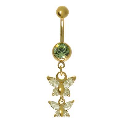 Piercing ventre Metallo chirurgico 316L Zircone Rivestimento PVD (colore oro) Farfalla