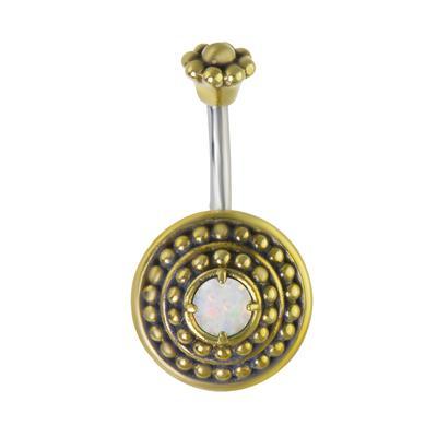 Piercing ventre Metallo chirurgico 316L Ottone Synthetic opal