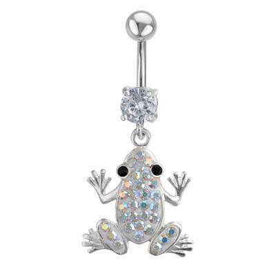 Bauchpiercing Chirurgenstahl 316L Silber 925 Kristall Frosch
