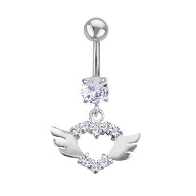 Piercing nombril Acier chirurgical 316L Argent 925 Zircon Coeur C?ur Amour Aile