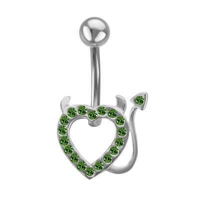 Bauchpiercing Chirurgenstahl 316L Silber 925 Kristall Teufelsherz Herz_mit_Hörnern