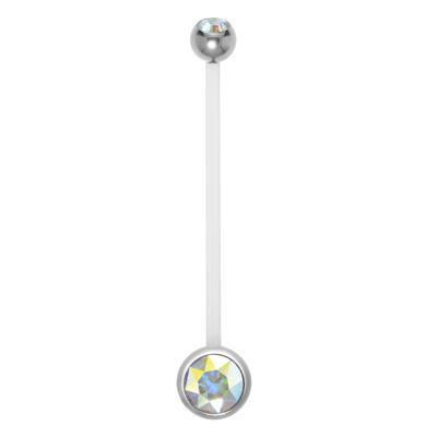 Schwangerschaftspiercing Chirurgenstahl 316L Bioplast Kristall
