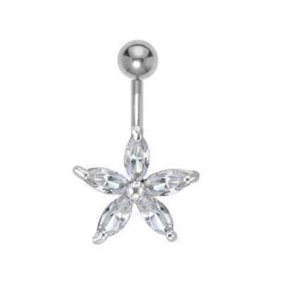 Bauchpiercing Chirurgenstahl 316L Messing rhodiniert Kristall Stern Blume