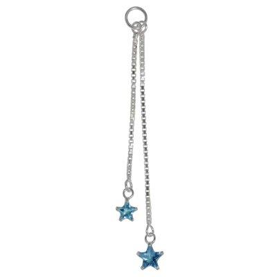 Bauchpiercing-Anhänger Silber 925 Kristall Stern