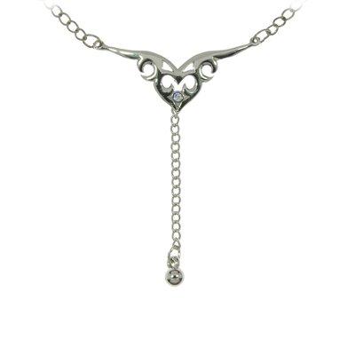 Bauchkette Messing mit Silberbeschichtung Kristall Tribal_Zeichnung Tribal_Muster Herz Liebe