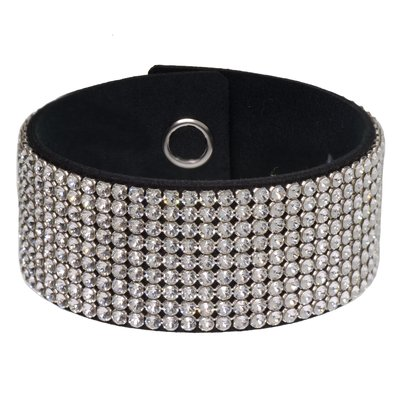 Armband Hochwertiger Kristall Alcantara Edelstahl Messing
