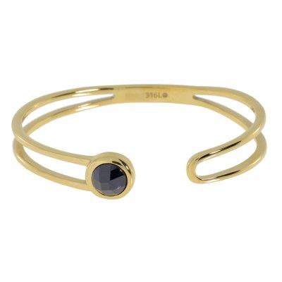 Bracelet rigide Acier inoxydable Revêtement d´or (doré) Zircon