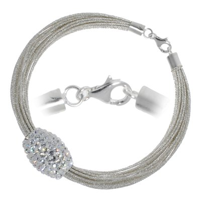 Armband Nylon Kristall Silber 925