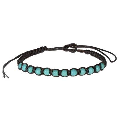 Bracelet de plage Lin ciré Pierre synthétique