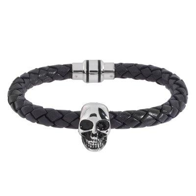 Bracelet Cuir Acier inoxydable Crâne Caboche Os