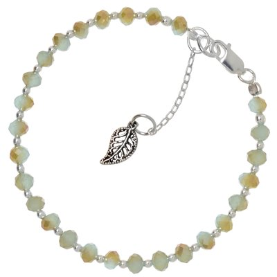 Kinder Armkette Silber 925 Kristall Blatt Pflanzenmuster Florales_Muster
