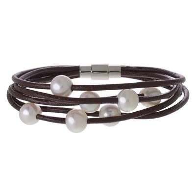 Bracelet Acier inoxydable Perles d´eau douce Cuir