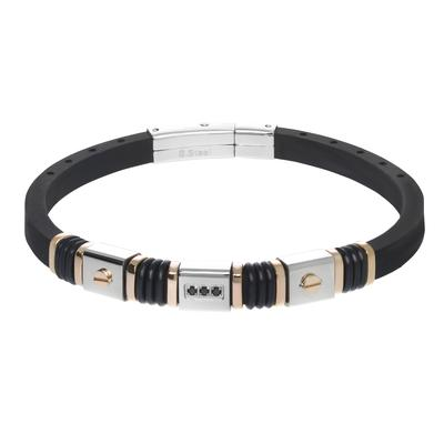 Armband Silikon Edelstahl Kristall PVD Beschichtung (goldfarbig) PVC