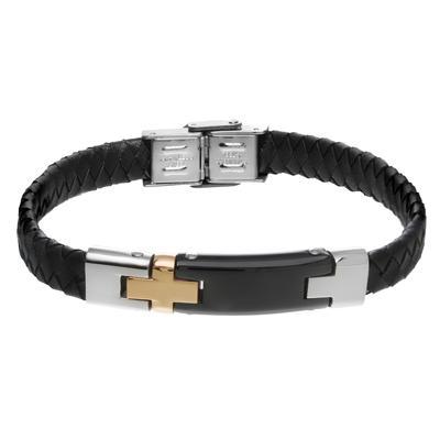 Bracelet Cuir Acier inoxydable Revêtement PVD (couleur or) Éternel Dragonne Infini