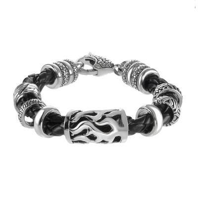 Bracelet Cuir Acier inoxydable Pelage Animal_Print Fourrure Dessin_tribal Motif_tribal