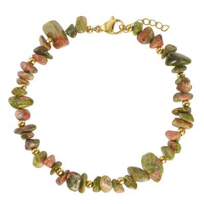 Armband Edelstahl PVD Beschichtung (goldfarbig) Unakit-Stein