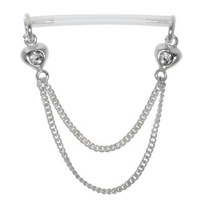 Brustpiercing Silber 925 Bioplast Kristall Herz Liebe