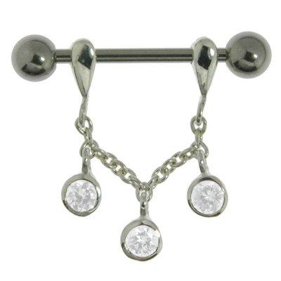 Brustpiercing Chirurgenstahl 316L Silber 925 Kristall