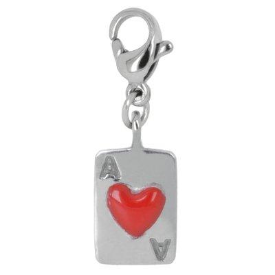 Charms pendentifs Acier inoxydable Émail Coeur C?ur Amour Poker Carte_à_jouer Coeur