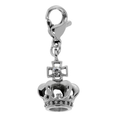 Charms-Anhänger Edelstahl Swarovski Kristall Krone Kreuz