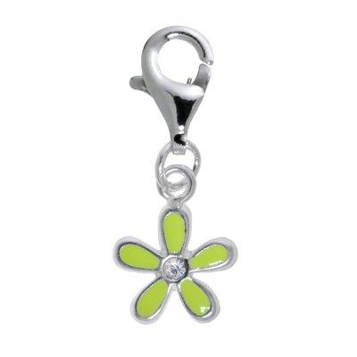 Kinder Charm Silber 925 Email Kristall Blume