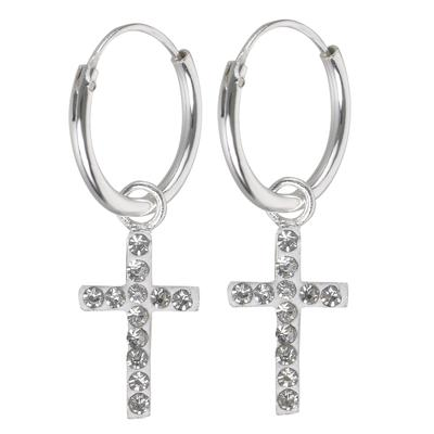 Orecchini Argento 925 Cristallo Croce