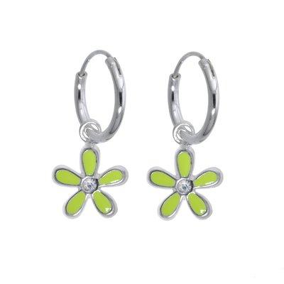 Kinder Ohrringe Silber 925 Email Kristall Blume