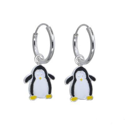 Kinder Ohrringe Silber 925 Email Pinguin