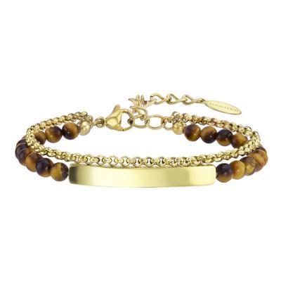 Armband Edelstahl Gold-Beschichtung (vergoldet) Tigerauge