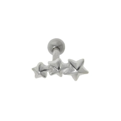 Piercing de oreja Acero quirúrgico Latón con revestimiento de plata Estrella