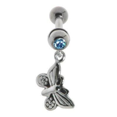 Ohrpiercing Chirurgenstahl 316L Messing mit Silberbeschichtung Kristall Schmetterling Sommervogel