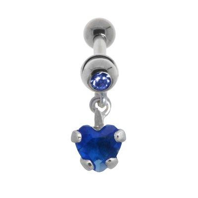 Piercing orecchio Metallo chirurgico 316L Ottone con rivestimento in argento Cristallo Zircone Cuore Amore
