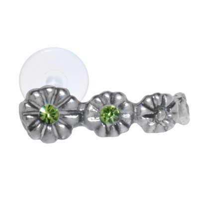 Ohrpiercing Silber 925 Kristall Bioplast Blume
