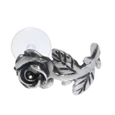 Piercing orecchio Argento 925 Cristallo Bioplast Fiore Rosa
