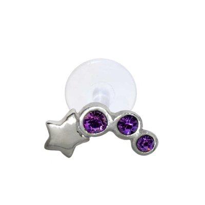 Ohrpiercing Silber 925 Kristall Bioplast Stern