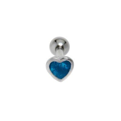 Piercing orecchio Metallo chirurgico 316L Ottone con rivestimento in argento Smalto Cuore Amore