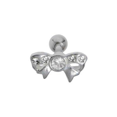 Ohrpiercing Chirurgenstahl 316L Messing mit Silberbeschichtung Kristall Schleife Geschenkband Haarschlaufe