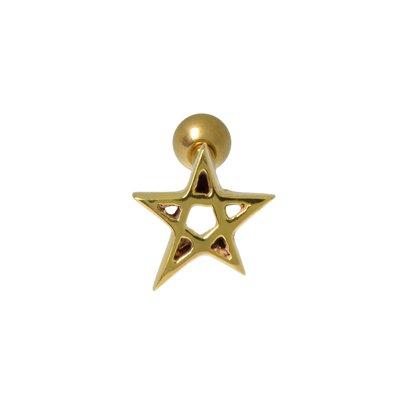 Ohrpiercing Chirurgenstahl 316L PVD Beschichtung (goldfarbig) Stern